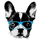 Hipster French Bulldog Nerdy Dog by pencilplus