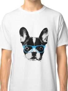 Hipster French Bulldog Nerdy Dog Classic T-Shirt