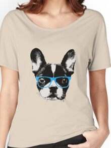 Hipster French Bulldog Nerdy Dog Women's Relaxed Fit T-Shirt