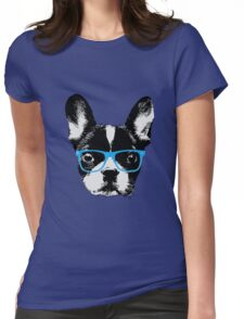 Hipster French Bulldog Nerdy Dog Womens Fitted T-Shirt