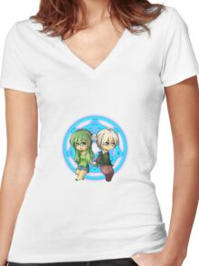 Damian + Nora Chibi Women's Fitted V-Neck T-Shirt