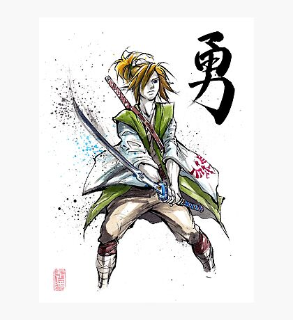 Link from Zelda Sumie style calligraphy COURAGE Photographic Print