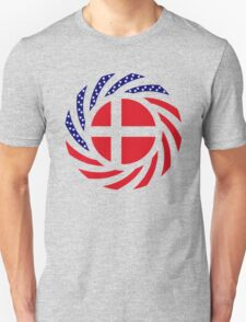 Danish American Multinational Patriot Flag Series Unisex T-Shirt