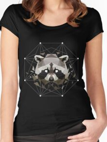 Geometric Raccoon Women's Fitted Scoop T-Shirt