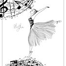Rhythm Ballerina Zen Art Coloring Page by Franchesca Cox