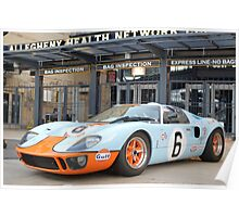 Ford GT 40 Racecar Gulf Oil Vintage Auto Poster