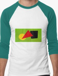 Triangle Circle Square with Green Background Men's Baseball ¾ T-Shirt