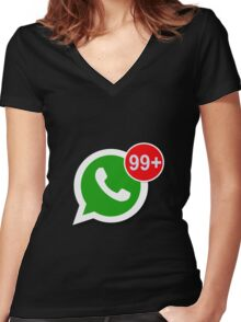 WhatsApp Messages Women's Fitted V-Neck T-Shirt