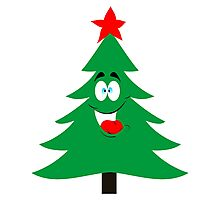 Christmas tree with top star ,vector illustration Photographic Print