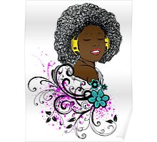 African American Woman Enjoying Music on Headphones Poster