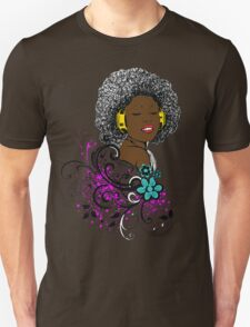 African American Woman Enjoying Music on Headphones T-Shirt