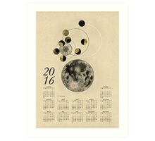 2016 Full Moon Calendar Art Print