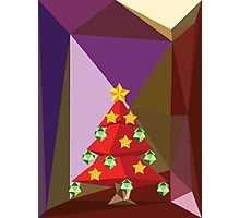 Red Polygonal Christmas Tree Photographic Print