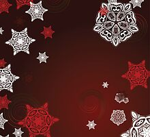 Red Background with Snowflakes by AnnArtshock