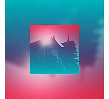 Beautiful Pagoda Temple Silhouette Light Leak Gradation Photographic Print