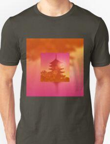 Gorgeous Pagoda Silhouette Sunset Light Leak Gradation Unisex T-Shirt