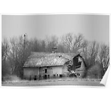 Forest Avenue Barn BW Poster