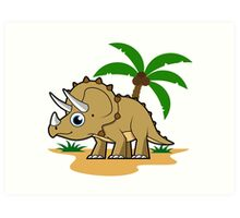 Cute illustration of a Triceratops in a tropical climate. Art Print