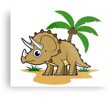 Cute illustration of a Triceratops in a tropical climate. Metal Print