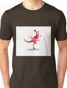 Illustration of a ballerina dancing raptor. Unisex T-Shirt