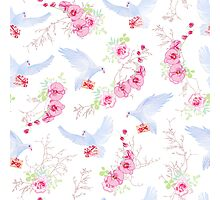 Delicate vector pattern with post doves, love letters, orchids, roses and tree branches Photographic Print