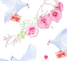 Delicate vector pattern with post doves, love letters, orchids, roses and tree branches Sticker