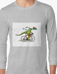 Illustration of an Anabisetia dinosaur riding a bicycle. Long Sleeve T-Shirt