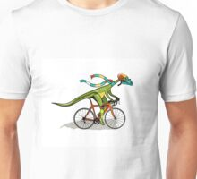 Illustration of an Anabisetia dinosaur riding a bicycle. Unisex T-Shirt