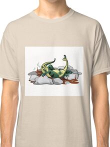 Illustration of a Hadrosaurus relaxing in a jacuzzi. Classic T-Shirt