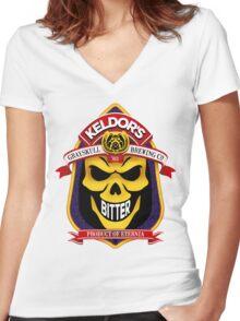 Keldor's Bitter - Grayskull Brewing Company - Skeletor Women's Fitted V-Neck T-Shirt