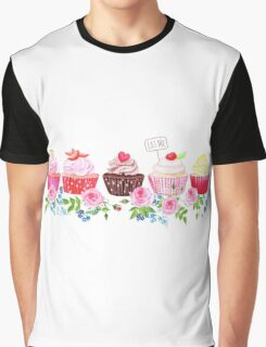 Colorful cupcakes with flowers vector design stripe Graphic T-Shirt