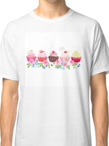 Colorful cupcakes with flowers vector design stripe Classic T-Shirt