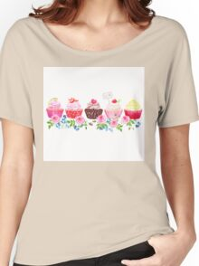 Colorful cupcakes with flowers vector design stripe Women's Relaxed Fit T-Shirt