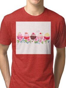 Colorful cupcakes with flowers vector design stripe Tri-blend T-Shirt