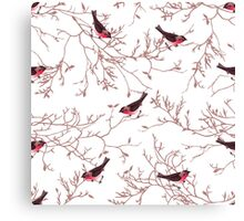 Bullfinches and bare tree branches seamless vector print Canvas Print