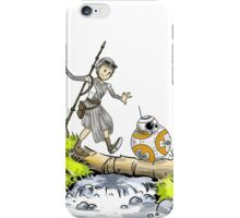 bb-8 and rey calvin and hobbes iPhone Case/Skin