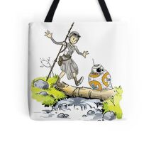 Star Wars The Force Awakens / Calvin and Hobbes- BB-8 and Rey Tote Bag