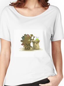 Illustration of a Stegosaurus drinking a beverage. Women's Relaxed Fit T-Shirt