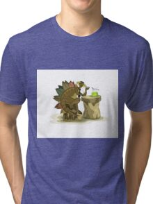 Illustration of a Stegosaurus drinking a beverage. Tri-blend T-Shirt