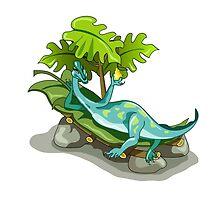 Illustration of an Iguanodon sunbathing. by StocktrekImages