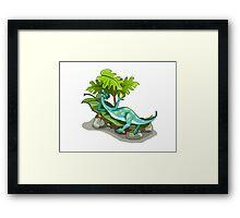 Illustration of an Iguanodon sunbathing. Framed Print