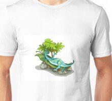 Illustration of an Iguanodon sunbathing. Unisex T-Shirt