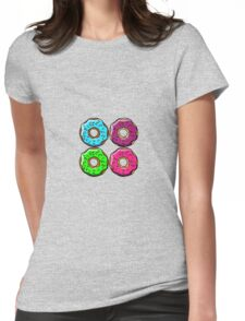 Donuts Make Me Go Nuts!! All Over Donut Print! Womens Fitted T-Shirt