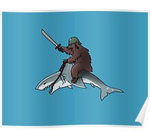 Bear riding a shark Poster