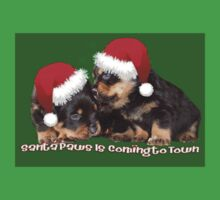 Santa Paws Is Coming To Town Christmas Greeting Kids Tee