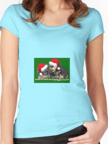 Santa Paws Is Coming To Town Christmas Greeting Women's Fitted Scoop T-Shirt