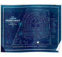 Civil War Maps 0652 Map of Antietam National Cemetery at Sharpsburg Maryland Inverted Poster