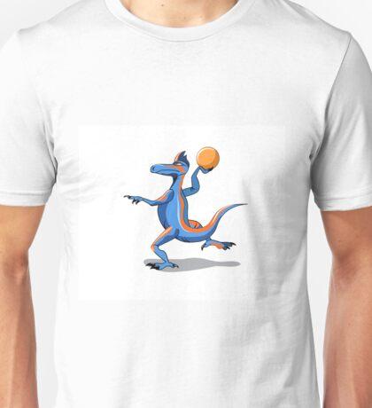 Illustration of an Iguanodon playing basketball. Unisex T-Shirt