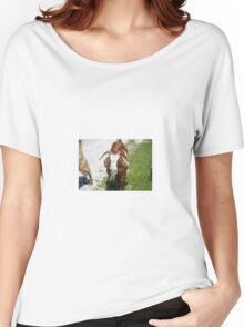 Whimsical Portrait of a Horned Goat Grazing Women's Relaxed Fit T-Shirt