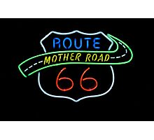 Route 66 Mother Road Neon Sign Photographic Print
